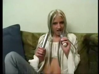 Full striptease with young honey and her toy